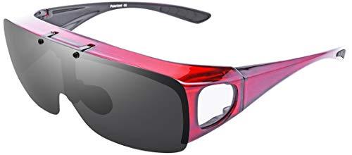 Br'Guras オーバーグラス 偏光 スポーツサングラス メンズ レディース 跳ね上げ式 運転ゴーグル UV400 紫外線カット 偏光サングラス 釣り メガネの上から 自転車、ランニング、ゴルフ、野球、登山に対応可能 (赤)