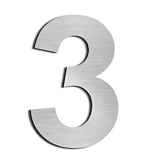 nanly Moderne Hausnummer aus massivem hergestellt 304-GROß 20.5 Zentimeter /8Zoll- Gebürsteter Edelstahl, Schwimmendes Aussehen, Einfache Installation(Ziffer 3)