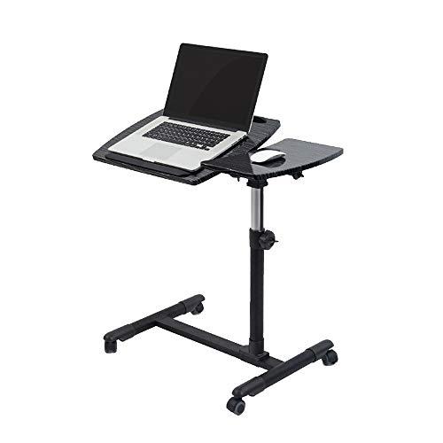Klapptisch Chunlan Tragbarer Laptop-Standplatz-Wagen mit Mausunterlage, höhenverstellbar, abschließbare Laufrollen (Farbe : SCHWARZ)