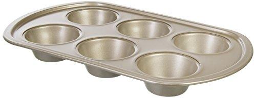 wenco Muffinform, Backform für 6 Muffins oder Cup Cakes, Antihaftbeschichtet und Hitzebeständig, Goldfarben, 545976