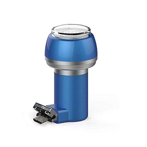 Baomasir Mini-scheerapparaat, 2-in-1, magnetisch elektrisch scheerapparaat, draagbare USB-telefoon/powerbank, waterdicht, duurzaam opladen USB+Micro Ertsblauw