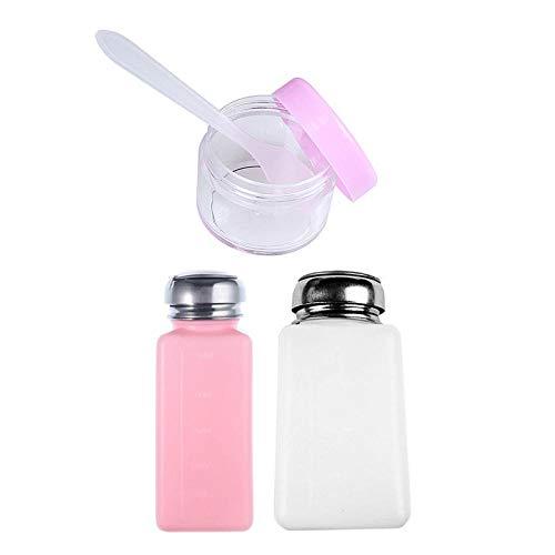 2 pcs Vide Pompe Distributeur Rose et Blanc Bouteille et 2 pcs 15 ML Rose Transparent en Plastique Rond Pot cosmétique