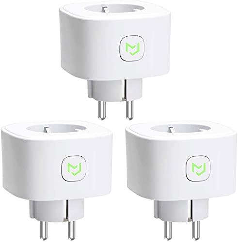 Enchufe Inteligente 16A 3680W, con Control Remoto Meross app, Compatible con Alexa, Google Assistant y SmartThings, Wi-Fi Smart Plug. Paquete de 3