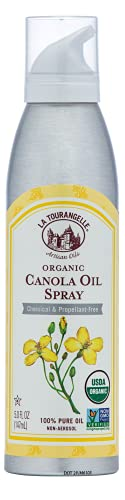 La Tourangelle Organic Canola Oil Spray, All-Natural, Artisanal Cooking, Baking, and Grilling Oil, High Heat Neutral Flavor, 5 fl oz