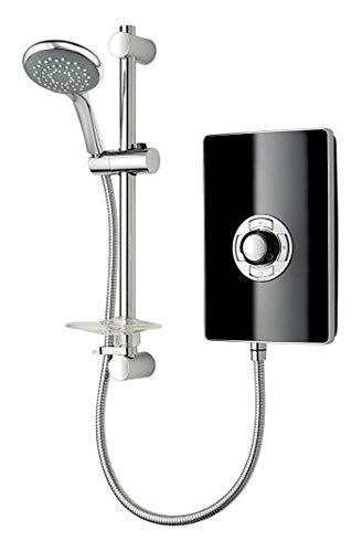 Triton Aspirante 9.5KW Gloss Black Electric Shower - Includes Head + Riser Rail