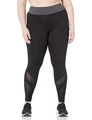 JUST MY SIZE Women's Plus Size Active Mesh Pieced Run Legging, Granite Heather/Black, 1X