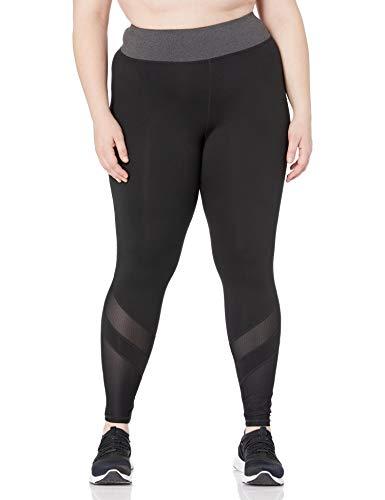 JUST MY SIZE Women's Plus Size Active Mesh Pieced Run Legging, Granite Heather/Black, 4X