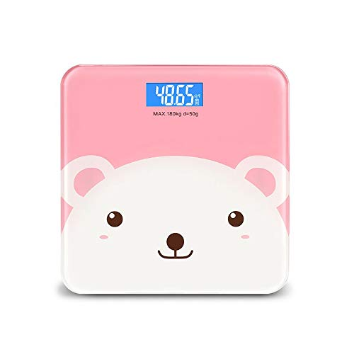 KOIUJ Intelligent Digital Bathroom Scale, Highly Accurate Body Weight Scale with Lighted Display (Color: Pink)