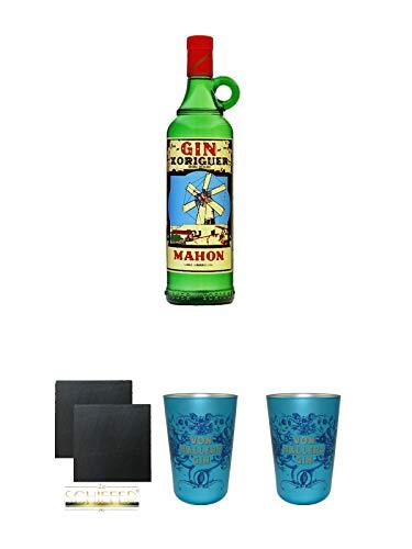 Gin Xoriguer Mahon Gin 0,7 Liter + Schiefer Glasuntersetzer eckig ca. 9,5 cm Ø 2 Stück + Von Hallers Gin Becher EDITION GÖTTINGEN aus Kristallglas 2 Stück