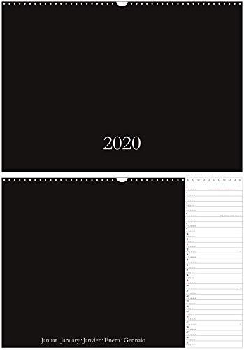 Calendario para manualidades y fotos 2020, en DIN A3/A2, calendario de pared, formato horizontal/horizontal, calendario creativo DIY DIY DIY DIY Do-it-yourself, XL/XXL, negro, multilingüe