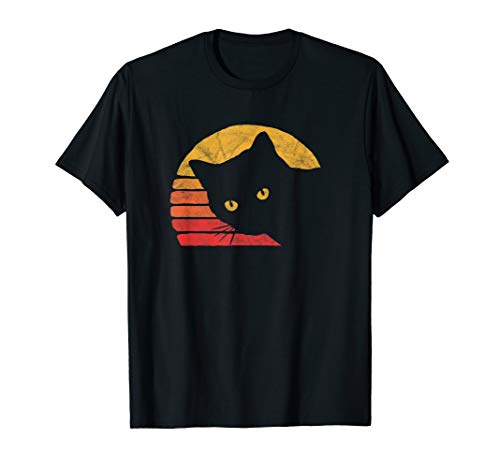 Vintage Eighties Style Cat Retro Distressed Design T-Shirt