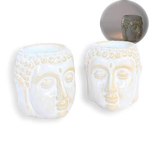 2 Pcs Aromatherapy Essential Oil Burner Warmer Ceramic Tea Light Holder Peaceful Buddha Shakyamuni Design