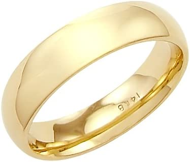 14k Solid Yellow Gold Plain Comfort Wedding Band Ring 5MM - Size 8