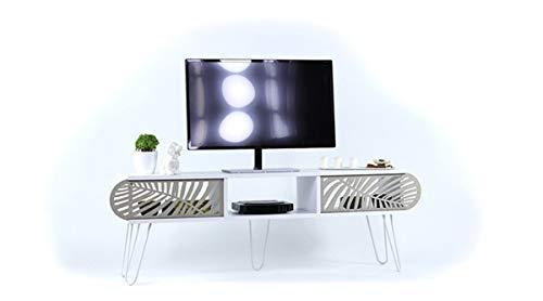 Vivense Illia Maxi - Soporte de TV (150 x 48 cm), color blanco y blanco