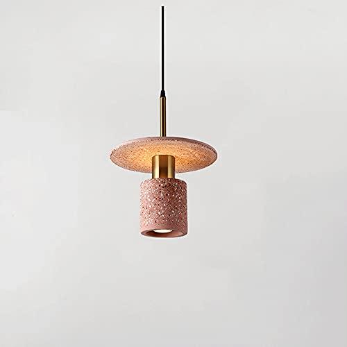 NAMFSR Lámpara de techo decorativa de cemento Lámpara colgante LED Lámpara colgante de una sola cabeza Luces colgantes simples y creativas Lámpara de techo de metal Lámpara de isla de terrazo industri