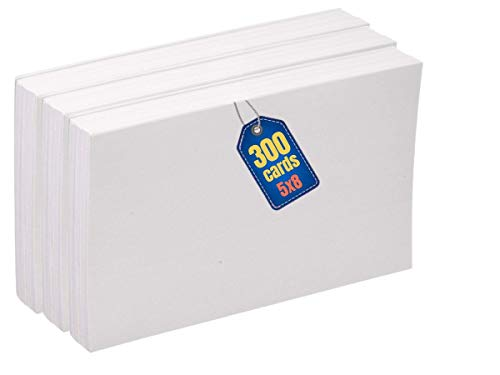 1InTheOffice Blank Index Cards, Index Cards Unruled White, Unruled Index Cards 5 x 8, 300-Pack, 100/Pack