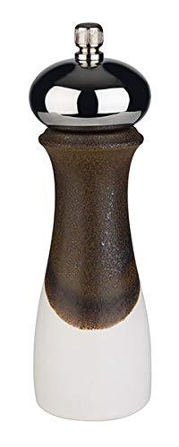 APS Molinillo de Sal - de Porcelana, con Tapa de Acero Inoxidable, Blanco/Negro, Mecanismo de molienda de Acero Inoxidable, Grado de molienda Ajustable, Ø 5, 5 x 18 cm, Sal