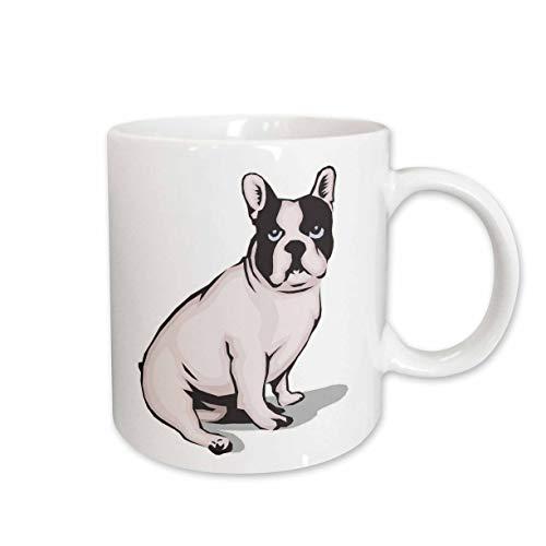 3dRose Cute And Cuddly Canine Sitting French Bulldog Mug, 15 oz, Ceramic