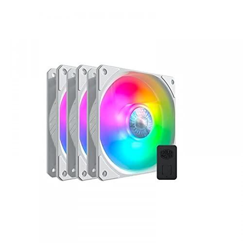Cooler Master SickleFlow 120 ARGB Edición Blanca 3 en 1 Ventiladores de Caja, 3x120mm, Incluye Controlador, Compatible Placa Base ARGB, Aspas Air Balance Blancas, 62 CFM, 2.5 mmH2O, 8 a 27 dBA, ARGB