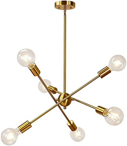 MQJ Linternas Chandeliers Led Led Moderna Araña Iluminación con Brazos Ajustables Cepillado Níquel Colgante de Iluminación Tipo de Techo Araña para Foyer Sala de Estar Cocina,Oro,6 Cabezas