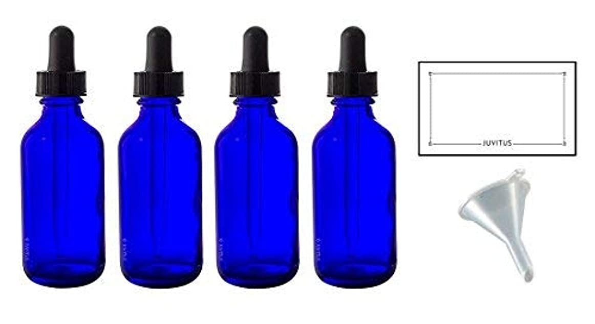 リーチ群れ下位2 oz Cobalt Blue Glass Boston Round Dropper Bottle (4 pack) + Funnel and Labels for essential oils, aromatherapy, e-liquid, food grade, bpa free [並行輸入品]