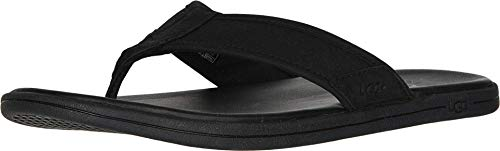 UGG Herren Seaside Flip Leather Sandale, Black, 46 EU