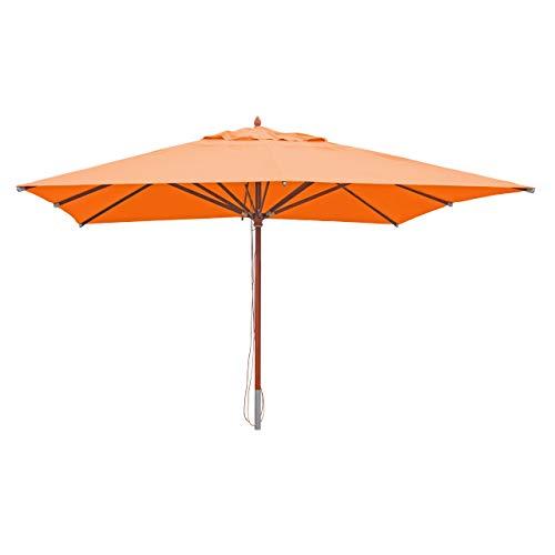 Mendler Gastronomie Holz-Sonnenschirm HWC-C57, Gartenschirm, Polyester/Holz 28kg, eckig 4x4m Seilzug stoßsicher - Terracotta