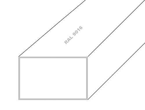 Aluminium Rechteckrohr Alu Profilrohr Vierkantrohr Weiß RAL 9016 20x10x2mm 1500mm Weiß RAL 9016