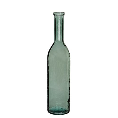 MICA Decorations Rioja Glasflasche/Vase, Glas, grau/grün, H. 75 cm D. 18 cm