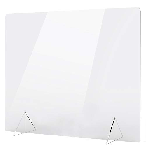 No Cutout 36'W x 32'H Sneeze Guard for Counter and Desk, Freestanding Clear Acrylic Shield, plexiglass Shield