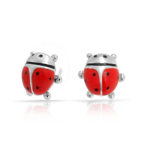 Kleines Glück SoMMer Garten Insekt Rote Marienkäfer Ohrstecker Ohrhänger Für Damen Für Jugendlich Messing
