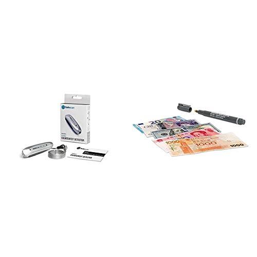 Safescan 35 - Detector de billetes falsos portátil. Verifica las características magnéticas, hilo metálico y UV + 111-0379 - Pack de 3 bolígrafos