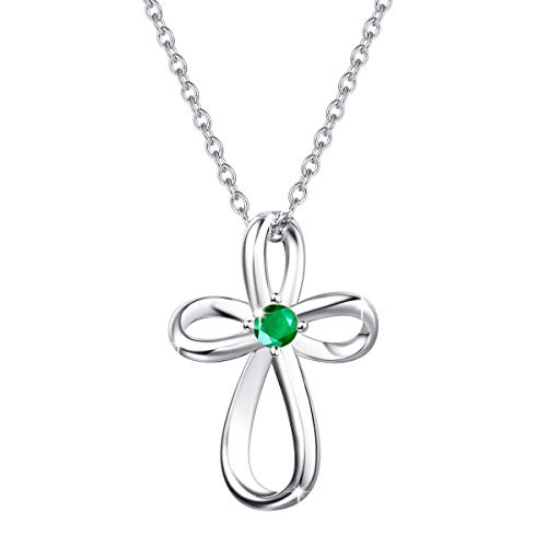 FANCIME White Gold Plated 925 Sterling Silver Created Emerald May Birthstone Open Loop Celtic Cross Crucifix Infinity Pendant Necklace For Women Girls, 16' + 2' Extender