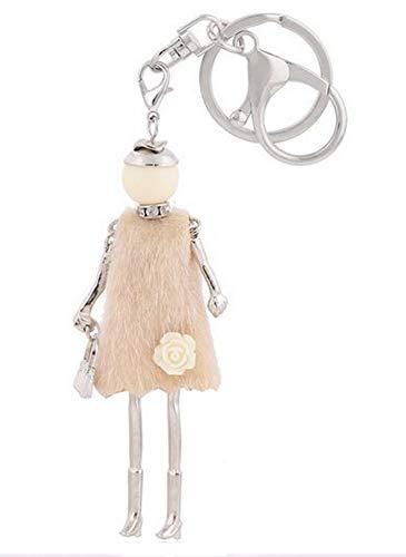 Bijouxmodefashion Taschenschmuck, Schlüsselanhänger, Puppe, Kleid, Tunika, Beige, mit Blume.