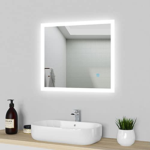 LED Badspiegel 60x50cm, Badezimmerspiegel mit Beleuchtung, kaltweiß Lichtspiegel,beleuchtet Wandspiegel mit Touchschalter + Beschlagfrei IP44 energiesparend, Spiegel Heizung