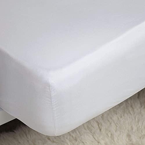 Lujosas sábanas bajeras de algodón 100% súper king size de algodón, sin arrugas, transpirables, suaves y cómodas, con bolsillos extra profundos de 30 cm, color blanco
