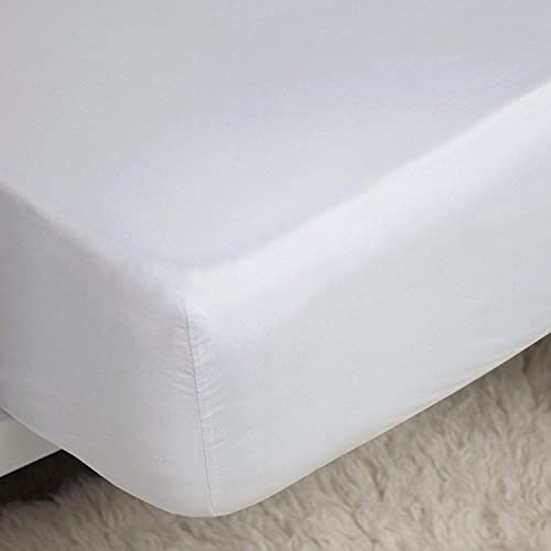 Sweet Needle Luxurious 100% Cotton Twin Size Fitted Sheets, 100% Cotton Smooth Wrinkle-Free Bottom Bedding Sheets, Breathable, Soft and Comfortable Bed Sheets with 30cm Extra Deep Pockets - White.