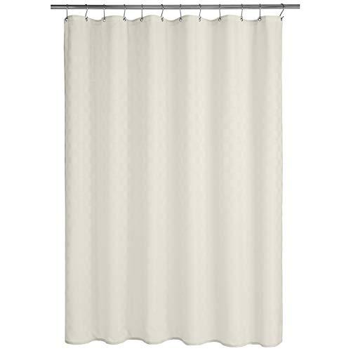 AmazonBasics - Cortina de ducha de poliéster estilo Bowery, blanco, 183 x 183 cm