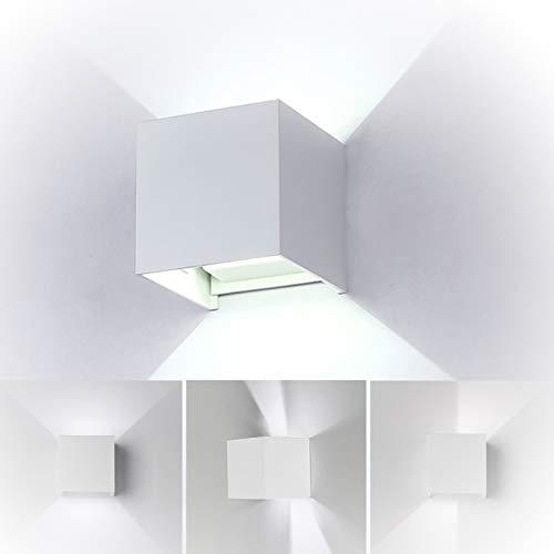 7W Led Applique murale chambre Moderne Interieur//Exterieur Blanc Up and Down Design R/églable Lampe Aluminium luminaires applique murale led Anti-Eau Blanc Chaud pour Chambre Maison Couloir Salon