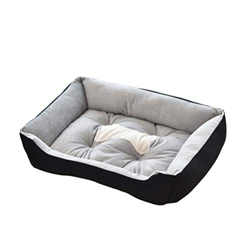 iplusmile Soft Pet Bed - Water-Resistant & Washable Cat Sleeping Bed - 50CM Rectangle Pet Bed Thickened Soft Bed Comfort Short Plush Pad Puppy House Nest Winter Supplies (Black)