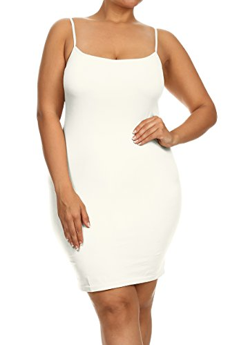 ICONOFLASH Women's Nylon Seamless Long Cami Slip Dress, Plus Size and One Size (Plus, Ivory)