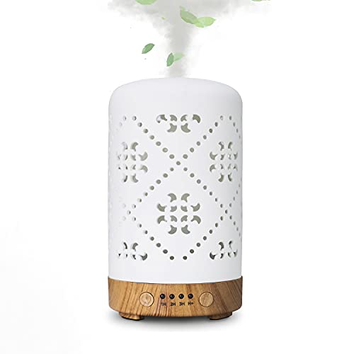 Diffusers For Essential Oils,Ceramic Aromatherapy Essential Oil Diffuser For Home Office Bedroom,With 4 Timer & 7 Ambient Light Settings,Waterless Auto Off Cool Mist Humidifier (White Ceramic--001)
