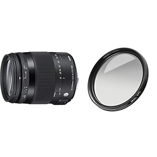 Sigma 18-200mm F3,5-6,3 DC Macro OS HSM Contemporary Objektiv (62mm Filtergewinde) für Canon Objektivbajonett & Walimex Pro Polfilter zirkular MC 62 mm (inkl. Schutzhülle)