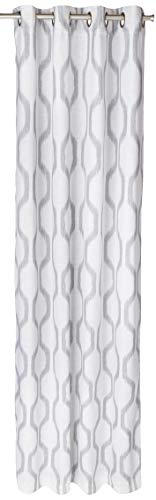 Elrene Home Fashions Renzo Ikat Geometric Linen Room Darkening Window Curtain Panel, 52u0022 x 95u0022 (1, Light Gray