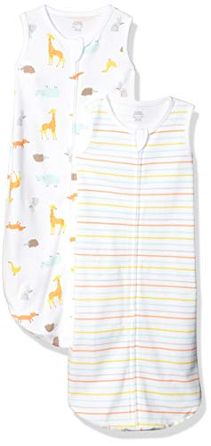 Amazon Essentials 2-Pack Cotton Baby Sleep Sack, Animal, 0-6M