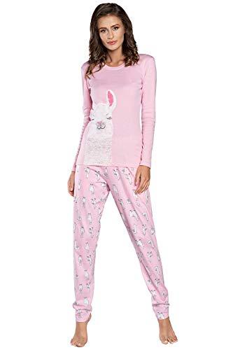 Damen Schlafanzug lang Pyjama Set | Nachtwäsche Hausanzug Langearm Zweiteiliger Sleepwear (M, Rosa Peru)