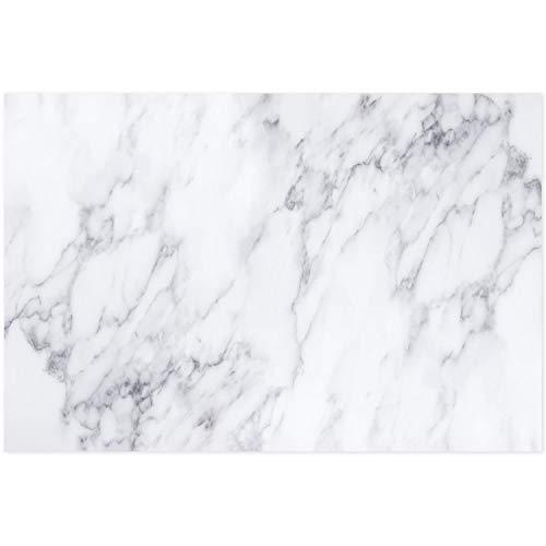 Younikat - Panel trasero de cocina, protección contra salpicaduras 60 x 40 Mármol blanco.