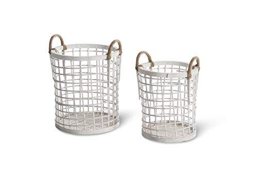 LIFA LIVING Set van 2 bamboehouten manden, wasmand of objecthouder met handgrepen, gevlochten ontwerp & vintage stijl, veelzijdig en verkrijgbaar in 2 kleuren (wit)