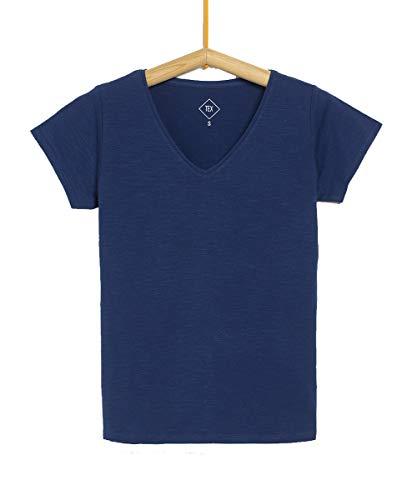 TEX - Camiseta Manga Corta Lisa para Mujer, Índigo, XL