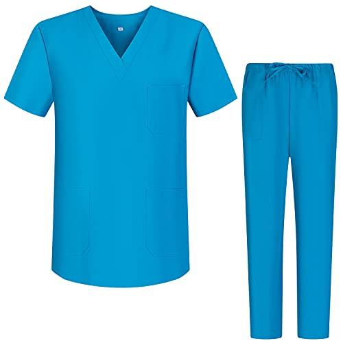 Workwear Tucano - Ensemble Uniformes Unisexe Blouse - Uniforme Médical avec Haut et Pantalon - Ref.6601-6602 - X-Large, Turquoise 68